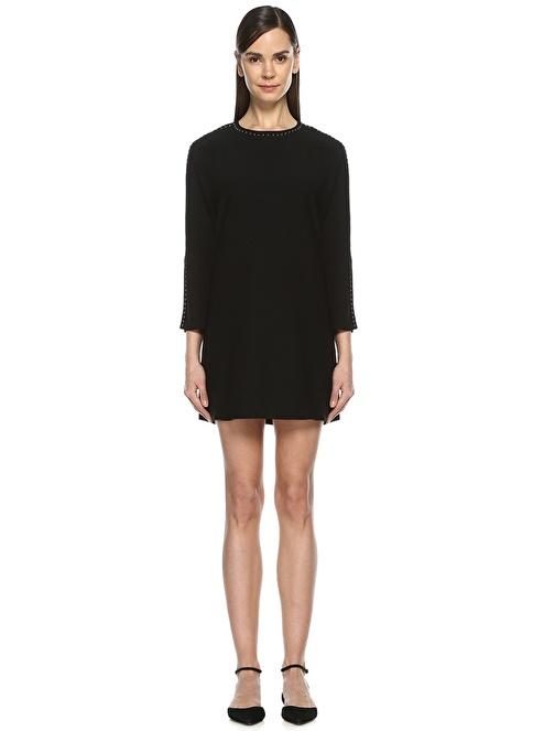 Beymen Collection Yaka ve Kolları Metal Zımbalı Mini Elbise Siyah